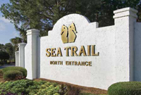 The entrance sign at Sea Trail Plantation